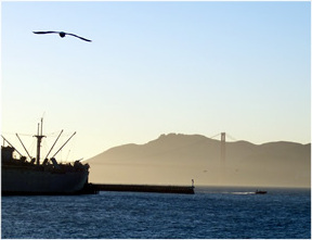 Golden Gate bridge from Fisherman's Wharf