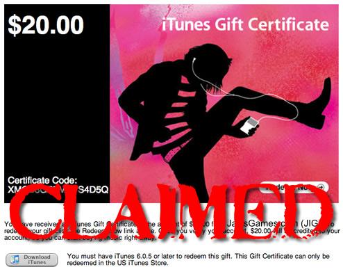 iTunes Gift Certificate